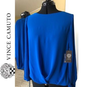 Vince Camuto Long Sleeve Top: Blue, Size M